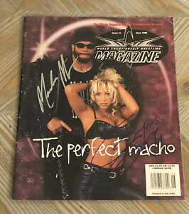 RANDY SAVAGE & GORGEOUS GEORGE SIGNED AUTOGRAPHED 1999 WCW MAGAZINE BAS BECKETT