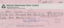 The Beatles John Lennon Cheque Pre Printed Signed Glossy Memorabilia 1975