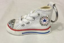 Swarovski BLING CLEAR Elements On Converse Mini Shoe Key Chain WHITE- Brand New