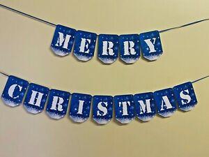 Merry Christmas Bunting Santa Xmas holiday elf Party Flag Hanging Banner CB176f