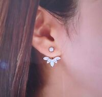 Silver Plated Leave Crystal Stud Earrings Fashion Womens
