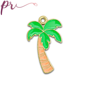 Gold Plated Green and Brown Enamel Palm Tree Charms Tropical Charm