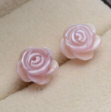8mm Sterling Silver Pink Mother of Pearl Rose Flower Stud Earrings Gift Box A40