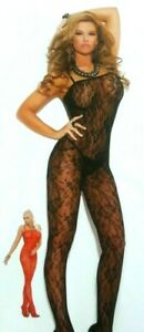 ROSE LACE BODY STOCKINGS CROTCHLESS PLUS & ONE SIZE BLACK OR RED ADULT COSTUME