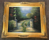 "Artist Harold G. Oil Painting - Landscape Gate Path Driveway Trees • 31""W x 27""H"