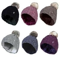 Heat Holders - Womens Fleece Lined Cable Knit Winter Beanie Hat with Pom Pom