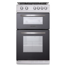 Montpellier MTG50LW 50cm Twin Cavity Gas Cooker in White with Glass Lid