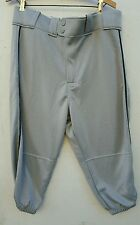 Rawlings Men's NWT Large Baseball Knickers Gray 100 %  Double Knit Polyester