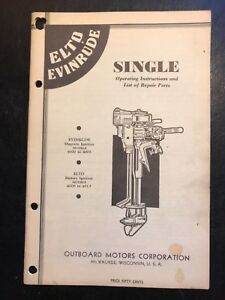 1930's ELTO Single Outboard Operating Service Manual & Parts List 4000 to 4005