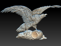 Eagle with barrel STL file - Model for CNC Router Machine