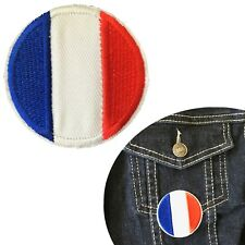 France Flag round iron on patch Tricolor French Frenchy flags embroidery patches
