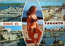 1976 Saluti da TARANTO vedute e Ragazza Bikini Vintage Sexy-ediz.F.lli Jozzi