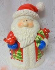 Retired Home Interiors Christmas Cookie Jar Jolly Santa Claus & Bird Cardinal