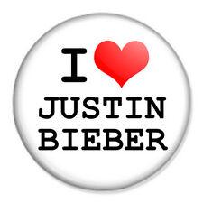 "I Love Justin Bieber 25mm 1"" Pin Badge Button Music Artist Singer Fan"