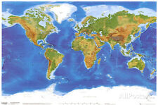 Satellite Physical Map of The World Poster Print, 36x24 World Map