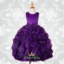 Satin Scoop Formal Occasion Dress Wedding Flower Girl Party Dark Purple 8 #234