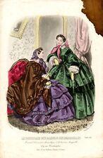 Stampa antica moda COLLOQUIO in SALOTTO 1857 Old Print Fashion Engraving