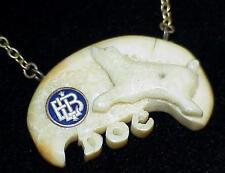 Polar Bear Tie Bar CARVED ANTLER BONE DOC Antique HB Hudson Bay Trading Co