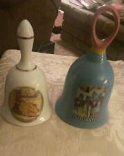 Set 2 Nashville Music City Usa & Tennessee Souvenir Ceramic Bells Euc