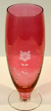 Engraved 10in Cranberry Ruby Flash footed Trumpet Table vase floral pattern