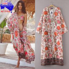Plus Size AU Women Boho Print Floral Loose Shawl Kimono Cardigan Cover up Blouse Regular 2xl