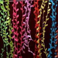 5M VINTAGE Satin Leaf Leaves Vine Garlands Ribbon Sew On Lace Trim Bridal Spring