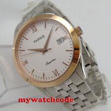 big sale 40mm parnis white dial rose bezel sapphire glass date quartz mens watch