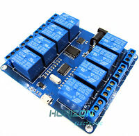 1PCS 8 Channel MICRO USB RELAY MODULE Upper Computer 5V 10A Good&new