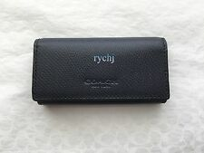 NWT COACH CROSSGRAIN LEATHER 4-RING KEY CASE MIDNIGHT NAVY 63414