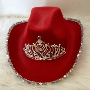 COWBOY HAT RED WITH SEQUIN TRIM AND A TIARA  YOU'LL BE READY TO PARTY!