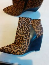 Ladies Size 6 Pointy Wedge Animal Print Ankle Boots Autograph Bntot