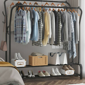 Heavy Duty Closet Organizer Metal 2Bar Garment Rack Clothes Hanger Storage Shoes