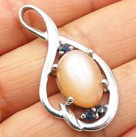 925 Sterling Silver- Vintage Pronged Rose Quartz & Sapphire Drop Pendant - P5076