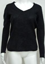 "BANANA REPUBLIC Black Fluffy 100% ANGORA V-neck Sweater Thin Lightweight M S 34"""