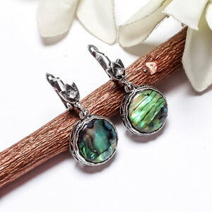 ABALONE SHELL GEMSTONE 925 STERLING SILVER PLATED LEVER BACK WOMENS EARRINGS #04