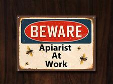 """""""attenzione apiarist al lavoro"""" METAL SIGN, Collezionabile, API, VINTAGE, Miele, SMALTO, n. 494"""