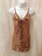 NEW- Dress Size- S Wet Seal brand Fancy Cocktail Evening Holiday Stretch Gold