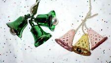 6 VINTAGE CHRISTMAS BELLS CRAFT ORNAMENT HARD PLASTIC BELLS MICA