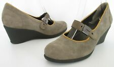 NEW SCHOLL SIZE 4 WOMENS BEIGE SUEDE MARY JANES COURT SHOES WEDGE HEELS STRAPS