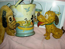 RARE antique 1930s sand pail Mickey Mouse Pluto+ Disney Enterprises Ohio Art