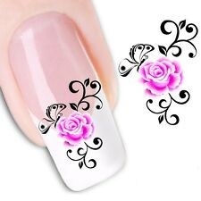 Nail Art Stickers Water Decals Transfers Pink Flowers (XF1176)