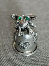 Comstock Pewter Frog Thimble Green Rhinestones Stamped #6320, Cci