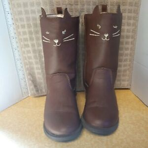 Carter's Brown Kitty Cat Novelty Fashion Riding Boots Toddler Girl's Size 11