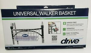 Drive Universal Walker Basket White with plastic insert tray & cup holder New