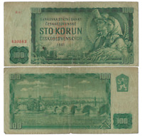 Old Czechoslovakia 100 Korun 1961 km:P91b Paper Money Banknote circulated VF