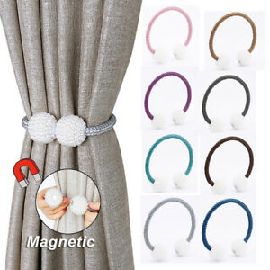 2Pcs Pearl Magnetic Curtain Holders Tieback Buckle Clips Curtain Accessories