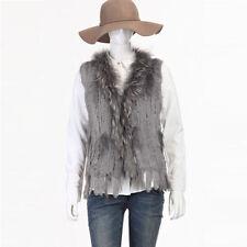 Real Fur Vest Echte Kaninchen Fell Weste Knit Pelz Waschbär