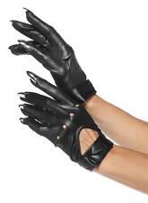 Fiese Schwarze Handschuhe mit Krallen für Halloween Vampire Kostüme