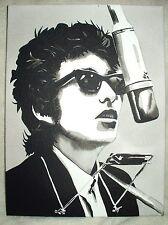 Canvas Painting Bob Dylan Harmonica & Microphone B&W Art 16x12 inch Acrylic