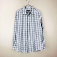 George Mens L 42 - 44 Grey Blue Plaid Long Sleeve Button Front Shirt